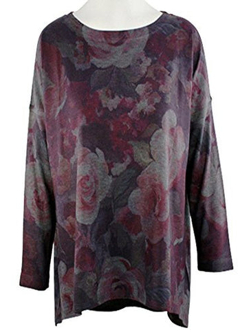 Nally & Millie - Floral Bloom, Geometric Pattern Scoop Neck Hi-Low Hem Tunic