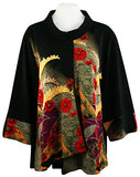 Moonlight - Asian Fan Geometric Colorful Floral Print Trimmed Long Sleeve Jacket