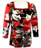 Lynn Ritchie - Amazed, 3/4 Sleeve, Square Neck Geometric Print Fashion Top
