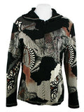 Cactus Fashion - Geometry, Long Sleeve Cotton Print Rhinestone Hoodie Top