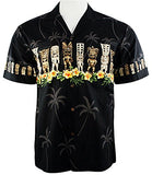 Ky's International Tiki's Fashion Men's Hawaiian Shirt, Black