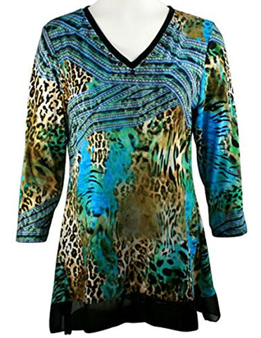 Boho Chic - Jungle Roads, 3/4 Sleeve Geometric Animal Print V-Neck Lace Hem Top