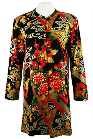 Moonlight - Asian Flower Geometric Floral Print Mandarin Collar Elongated Jacket