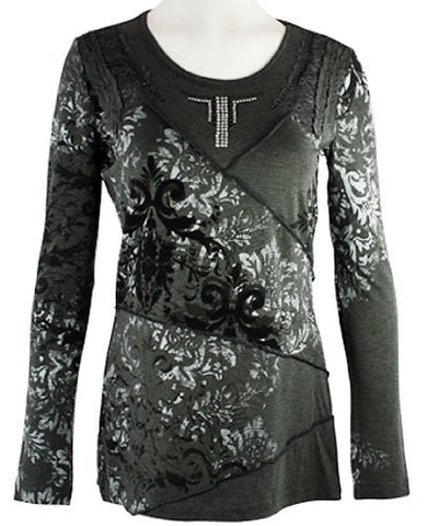 Orly Clothing - Diagonal Cutwork, Long Sleeve, Crew Neck Top with Rhinestones