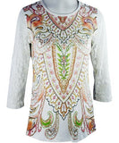 Cactus Fashion - Peach Paisley, 3/4 Sleeve, Printed Cotton Rhinestone Top