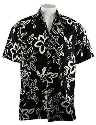 Go Barefoot - Kalani, Classic Hawaiian Men's Shirt Banded Collar Side Vents & Coconut Button