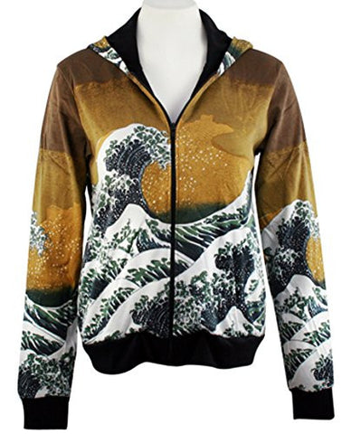 Breeke - The Great Wave, Long Sleeve Zippered Hand Silk Screened Hoodie