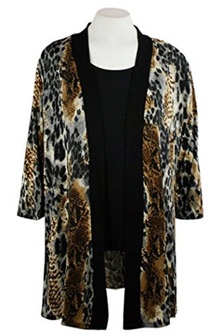 Caribe - Brown Leopard Animal Print, Black Trimmed, Long Sleeve Jacket - Duster
