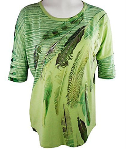 California Bloom Lime Geometric Print Top, Scoop Neck with Rhinestone Accents