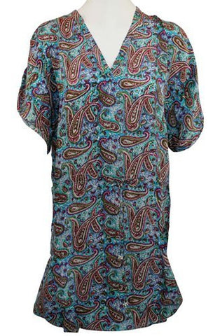 Tolani Apparel - Anna Flared Tunic, V-Neck Tie, Paisley Print Top