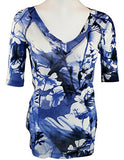 Karen Kane -Floral Breeze, Blue Floral Print, half sleeves Fitted V-Neck Top