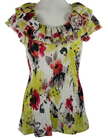 Cathaya Cap Sleeve, Pleated Floral Print, Scoop Neck Layered Ruffle Collar