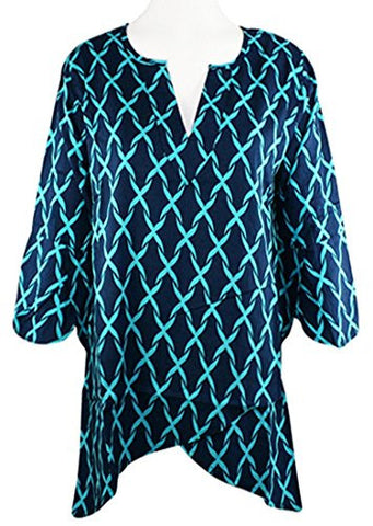 Escapada Living - Seagrass Link Top, 3/4 Sleeves, High Low Hem & V-Neck Collar