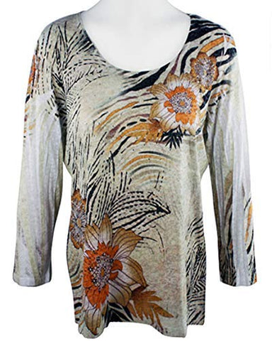 Impulse California Mystic Brown, 3/4 Sleeve, Scoop Neck Top with Burnout Accents