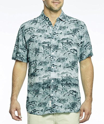 Margaritaville - Schooling Fish, BBQ Short Sleeve Men's Tropical Print Shirt