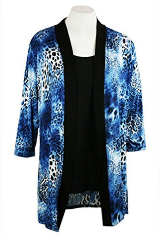 Caribe - Blue Leopard Animal Print, Black Trimmed, Long Sleeve Jacket - Duster