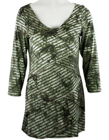Boho Chic - Olive Striped Layers, V-Neck, Criss Cross Tie Dye, Top