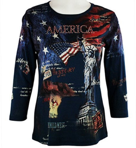 Cactus Fashion - American History, 3/4 Sleeve, Rhinestones, Printed Navy Blue Top