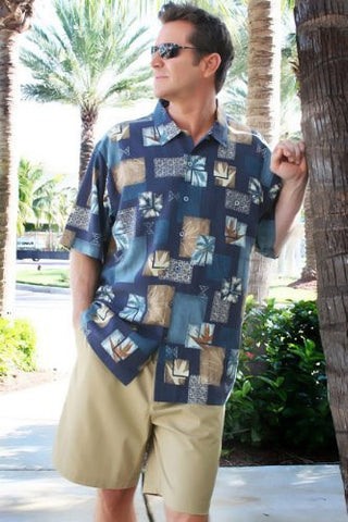 Luau Casual Charm Sportswear Indigo Colored Short Sleeve, Men's Casual Shirt