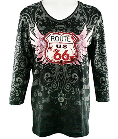 Cactus Bay Apparel Route 66 Biker, 3/4 Sleeve, V-Neck, Rhinestone Cotton Top