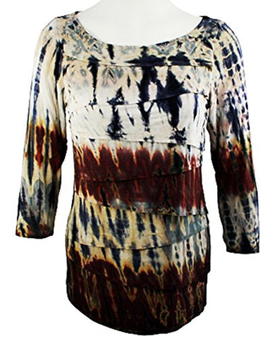 Boho Chic - Tie Dye Print, Long Sleeve Horizontal Layered Scoop Neck Top