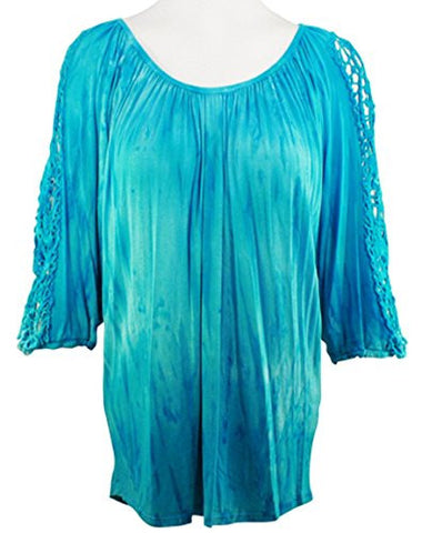 Impulse California - Aqua Venice, Tie Dye Print with Lace Sleeve Accents