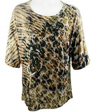 Jess & Jane - Animal Haze, Peek-a-Boo, Cold Shoulder, Scoop Neck, Sequined Top