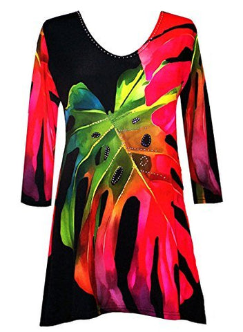 Valentina Signa Colored Palm frond, 3/4 Sleeve V-Neck Tunic Rhinestone Accents