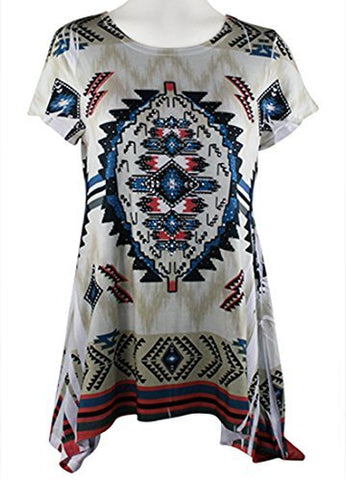 Big Bang Clothing - Southwest Themed Cap Sleeve Scoop Neck Rhinestone Print Top