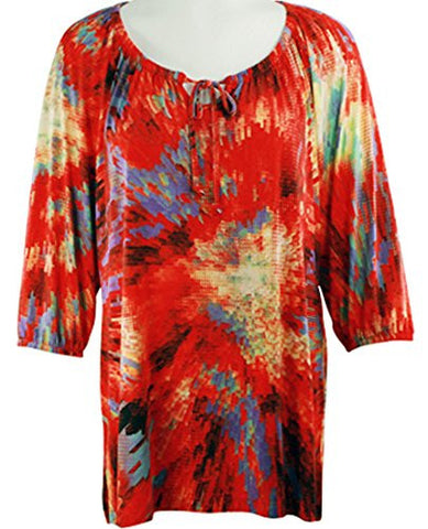 Crystal Fashions - Geo Splash, Elastic Trimmed Sleeves, Geometric Print Tunic Top