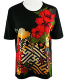 Moonlight - Three Flowers, Floral Print Short Sleeve Scoop Neck Asian Style Top