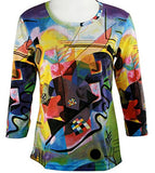 Breeke - Wassily by Kandinsky, 3/4 Sleeve, Scoop Neck, Hand Silk Screened Top