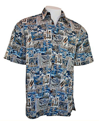Go Barefoot Paradise Banded Collar Classic Old School Hawaiian Shirt Side Vents, Coconut Button