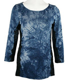 Boho Chic Clothing Tie Dye Splash 3/4 Sleeve,Scoop Neck Top - Lace Sides