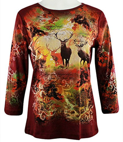 Cactus Fashion - Deers, 3/4 Slv, Scoop Neck Cotton Print Rhinestone Burgundy Top