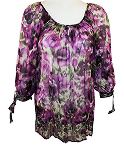 Karen Kane Soft Floral Print, Tie 3/4 sleeves, Scoop Neck Chiffon Top