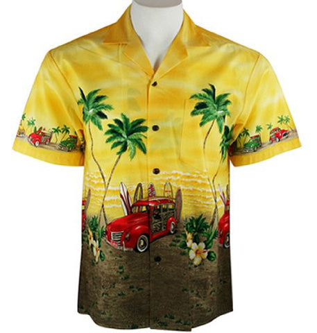 Ky's International Men's Hawaiian Style, Button Front Shirt - Red Woody