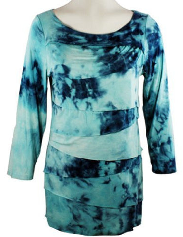 Boho Chic - Blue Haze, Scoop Neck, Horizontal Ruffled Tie Dye, Top