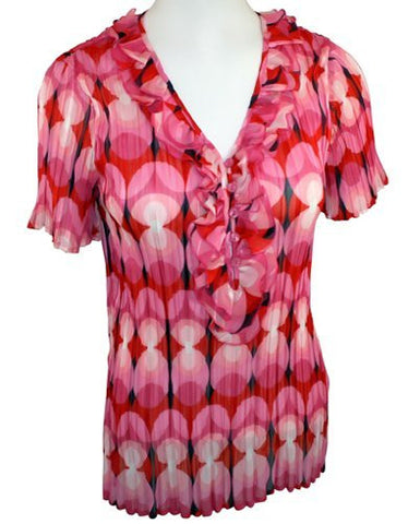 Cathaya, Geometric, Ruffled V-Neck, Pink, Black & Red Blouse