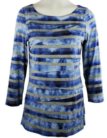 Boho Chic - Around Town, Scoop Neck, Horizontal Ruffled Tie Dye, Top