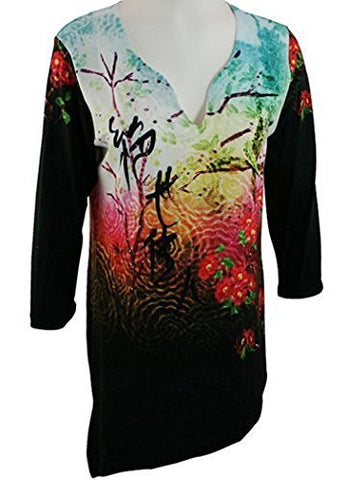 Impulse California - Tokyo Dawn 3/4 Sleeve, Asymmetrical Hem on a Multi Colored