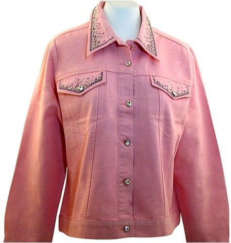 Christine Alexander Denim Jacket Swarovski Crystals around Pockets