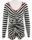Nally & Millie - Black & White Stripes, Trimmed V-Neck Long Sleeve Top