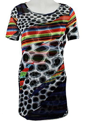 Lynn Ritchie - Spots & Stripes, Short Sleeve, Scoop Neck Top in a Geometric Print