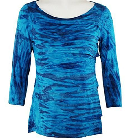 Boho Chic Clothing - Blue Blush, Tie Dye Horizontal Layered Blue Top