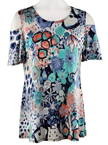 Caribe - Floral Flash, Cool Shoulder, Short Sleeve, Scoop Neck Colorful Fashion Top