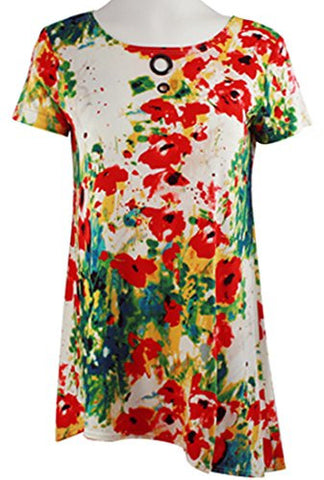 Isabel Clothing - Red Floral, Short Sleeve Asymmetric Hem Geometric Print Tunic