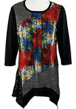Creation - Lace Mesh, 3/4 Sleeve Scoop Neck Geometric Print Tunic Lace Accents