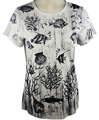Cactus Fashion - Under the Sea, Short Sleeve, Scoop Neck Cotton Rhinestone Top