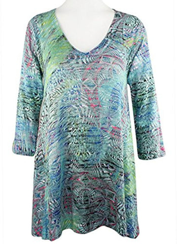 Nally & Millie - Animal Blue, V-Neck, 3/4 Sleeve Open Knit Tunic Top